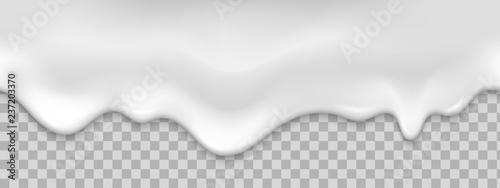 Fotografia Seamless white creamy drips. Realistic vector illustration.