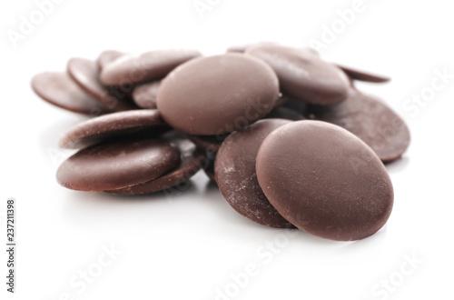 Fotografie, Obraz Delicious dark chocolate chips on white background