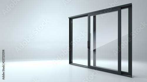 Black sliding door in the shop
