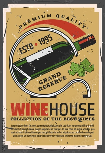 Canvas Print Winehouse retro poster with wine bottle on stand