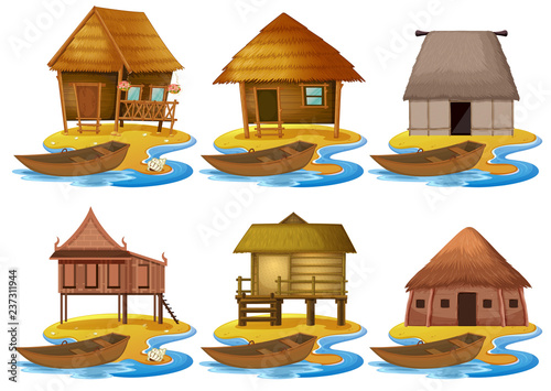 Fotografie, Tablou Set of different wooden house