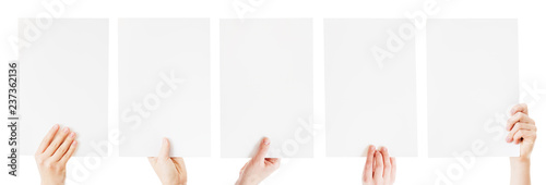 Photo hands holding blank paper isolated