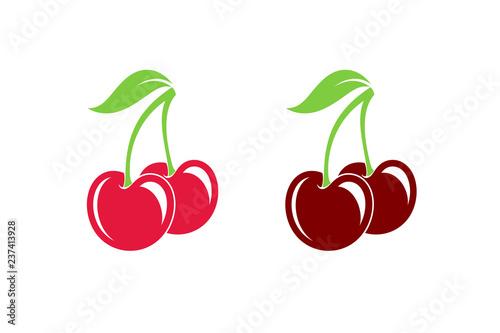 Fotografiet Cherry. Fresh berries on white background