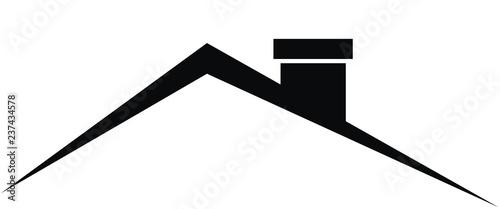 Fotografia Smokestack on roof, black vector icon