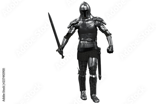 Photo knight in armor with sword in hand on white background 3D render