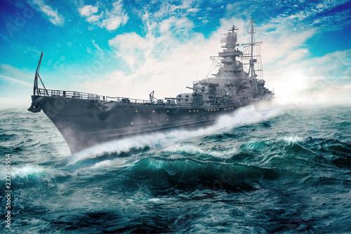 Canvas Print warship goes through the rough atlantic