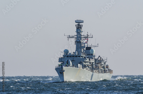 Canvas Print WARSHIP - Frigate on a patrol in the sea