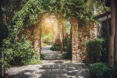 Fototapeta premium Stone arch entrance wall