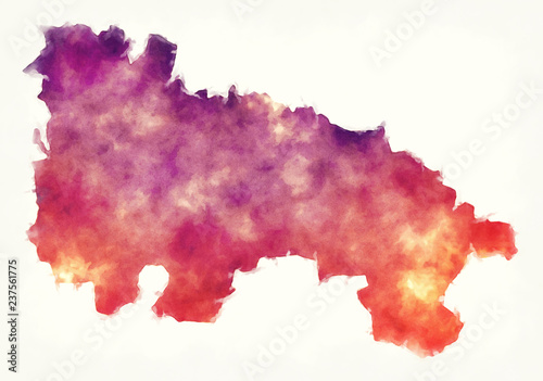 La Rioja region watercolor map of Spain in front of a white background