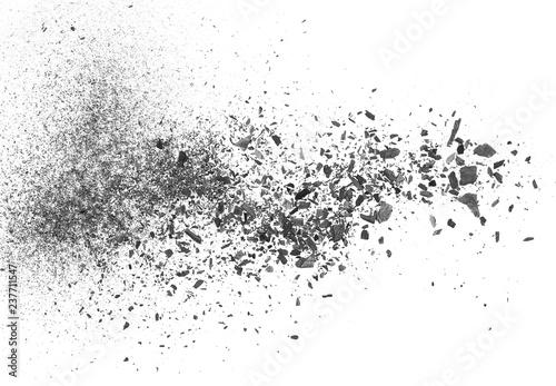 Fotografia, Obraz Black charcoal dust, gunpowder explosion isolated on white background and textur