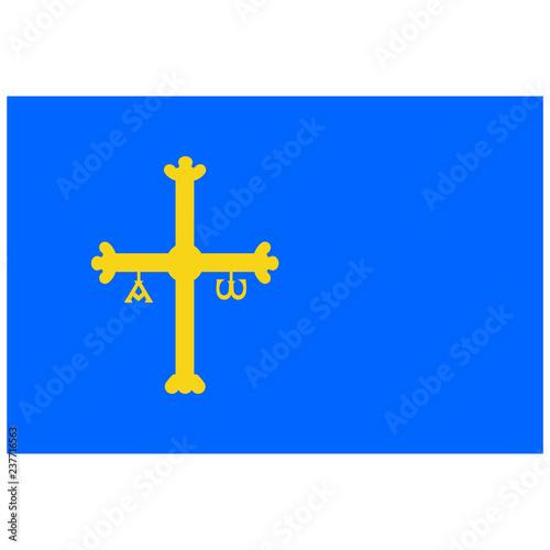 Vector flag of Spain autonomous community province Asturias