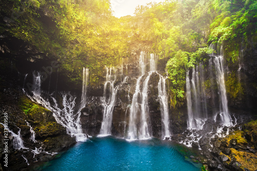 Canvas Print Cascade of Grand Galet in Langevin valley on La Reunion island, France