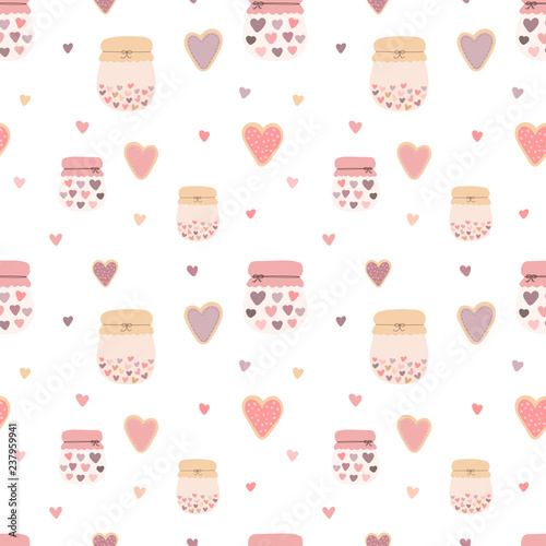 Fotografering Seamless pattern of hand-drawn cute cookies, jars, jams and hearts
