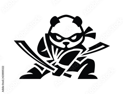 Wallpaper Mural Modern panda logo ninja illustration. flat design samurai panda
