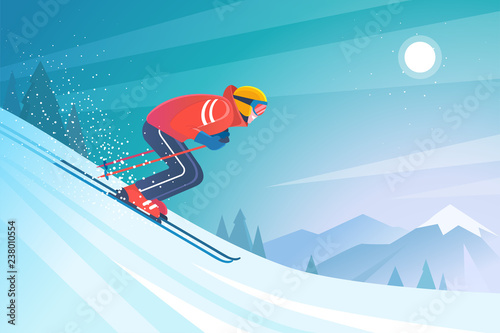 Canvas Print Skiing in the mountains