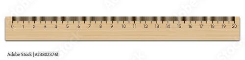 Photo Realistic School wooden measuring ruler 20 centimeter.