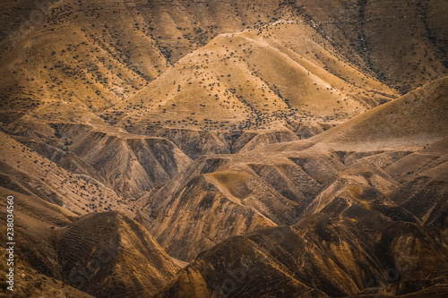 Canvas Print View of desert Mountain of Dead Sea mountains at Jericho, Palestine