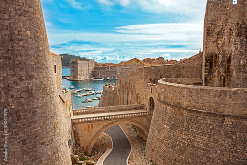 Leinwand Poster Old town and harbor of Dubrovnik Croatia