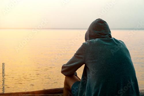 Fotografia, Obraz Lonely Young Man outdoor
