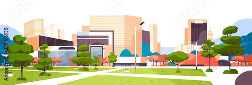 Obraz na płótnie urban empty city park pathway skyscraper buildings view modern cityscape downtow