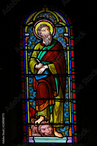 Fototapeta Stained Glass in Monaco Cathedral - Saint Mark the Evangelist and a Lion