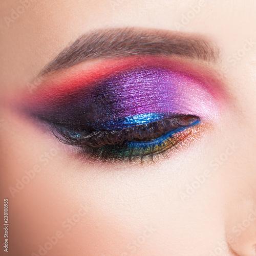 Obraz na plátne Amazing Bright eye makeup in luxurious blue shades