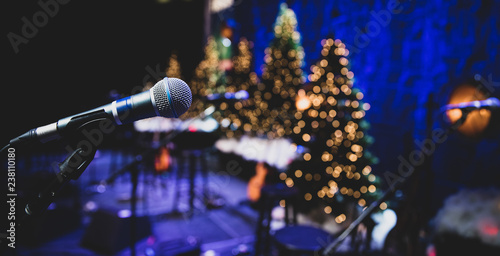Fotomural Microphone on stage during Christmas holiday show