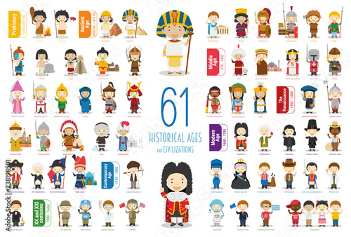 Fotografiet Kids Vector Characters Collection: Set of 61 Historical Ages and Civilizations in cartoon style