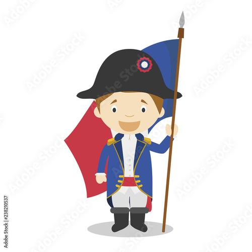 Fotografie, Obraz French revolution soldier cartoon character