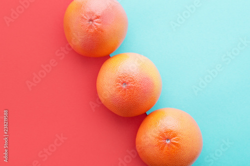 Grapefruits on Living Coral & pastel blue color diagonal background Minimal summer.