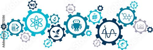 stem – science, technology, engineering, mathematics / science education – vector illustration
