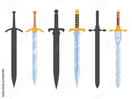 Canvas Print Set of knight swords isolated on white background