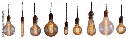 Fotografia, Obraz Set Isolated edison retro lamp on white background