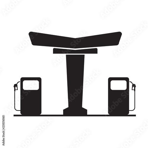 Obraz na płótnie Gas station symbol icon with flat color style design