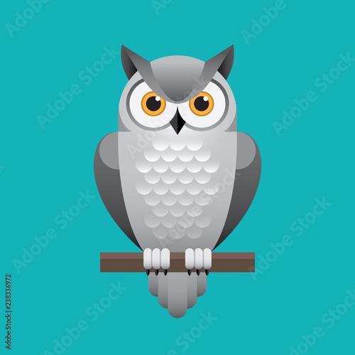 Fototapeta premium Śliczna biała sowa ilustracja na niebieskim tle.
