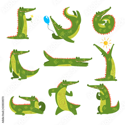 Fotomural Friendly crocodile in different poses set, funny predator cartoon character vect
