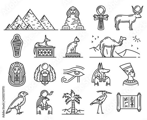Obraz na plátne Ancient Egypt gods, travel and religion symbols
