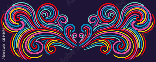 Obraz na plátně Colorful abstract curly element for design, swirl, curl