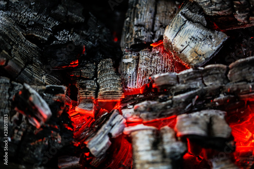 Canvas-taulu Burning coals of wood as a background