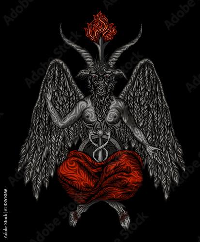 Photo Vector demon bafomet on a black background.