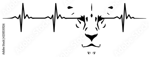 Fototapeta premium Lion heartbeat #isoliert #vektor - Löwe Herzschlag