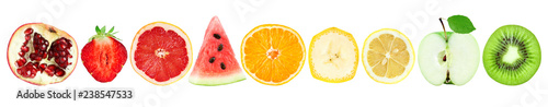 Collection of fruit slices isolated on white