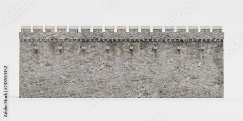 Stampa su Tela Realistic 3D Render of Medieval Wall