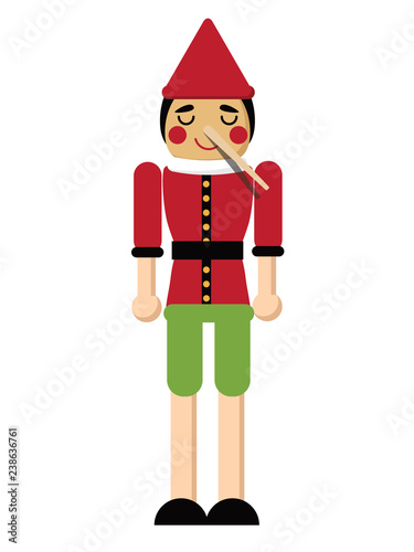 Fotografia Wooden boy with long nose from lying