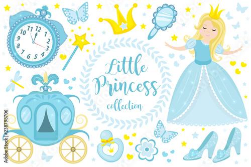 Cute little princess Cinderella set objects Fototapet