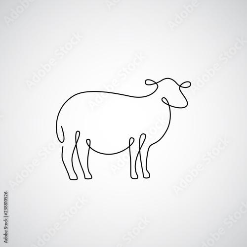 Fototapeta premium Jedna linia sylwetka owiec