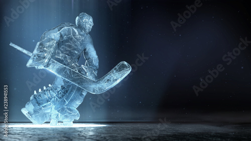 Fotografía translucent ise sculpture of ice hockey goalie in dinamic pose with dramatic light and dust particles in the air