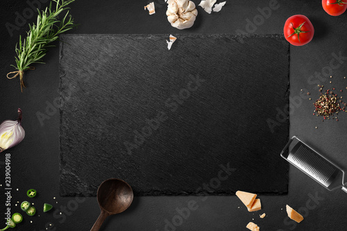 Ingredients for Italien food on stone board