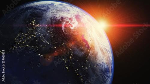 Erde mit Sonnenaufgang - Sonne Gegenlicht im Weltraum (Space ISS) Weltall