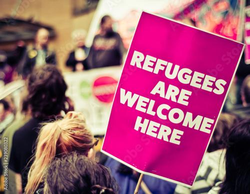 Obraz na płótnie Refugees Are Welcome Street Protestors